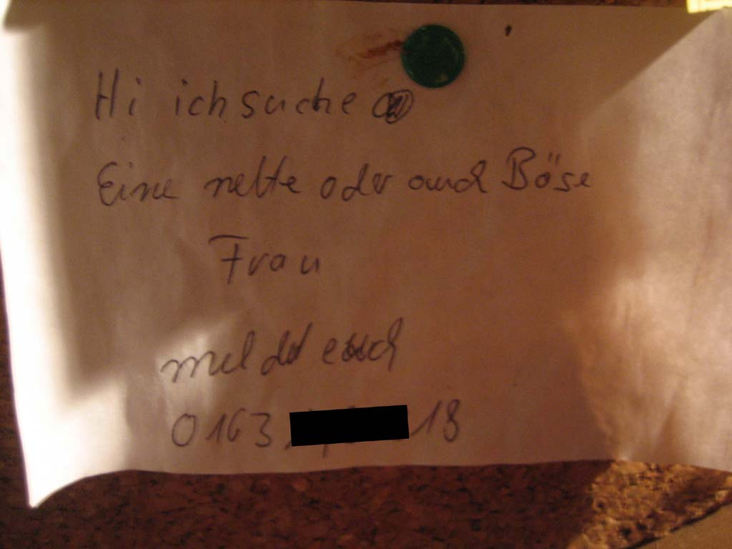 "German contact ad - ""looking for a nice or a mean woman..."""