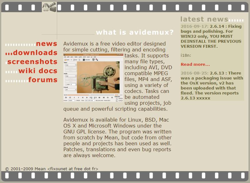 Screenshot of avidemux.sourceforge.net